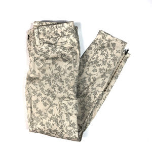 Level 99 Floral Print Cargo Utility Skinny Jeans